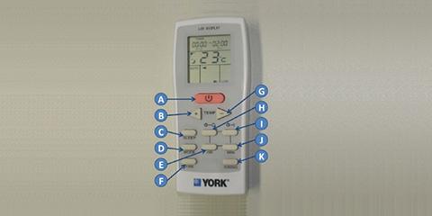 06895416a06 Funcionamento do controle remoto do ar-condicionado York Split Hi-Wall Atlas