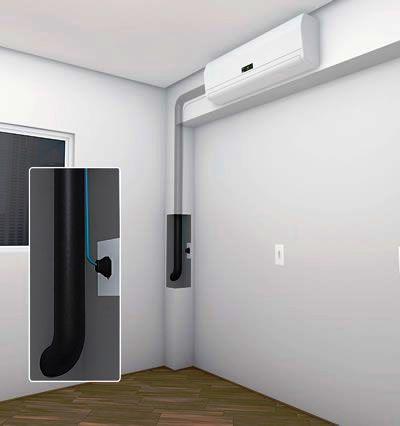 Pré-instalação de ar-condicionado adaptada com sanca de gesso