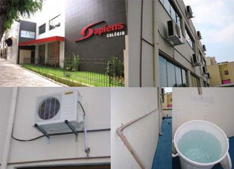 Sistema de coleta de água em escola no Paraná