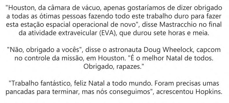 Conversa entre os astronautas