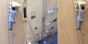Vídeo mostra homem instalando caixa de ar-condicionado no 6º andar sem proteção