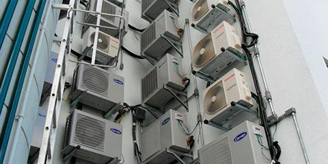 Parede de condensadoras de ar condicionado
