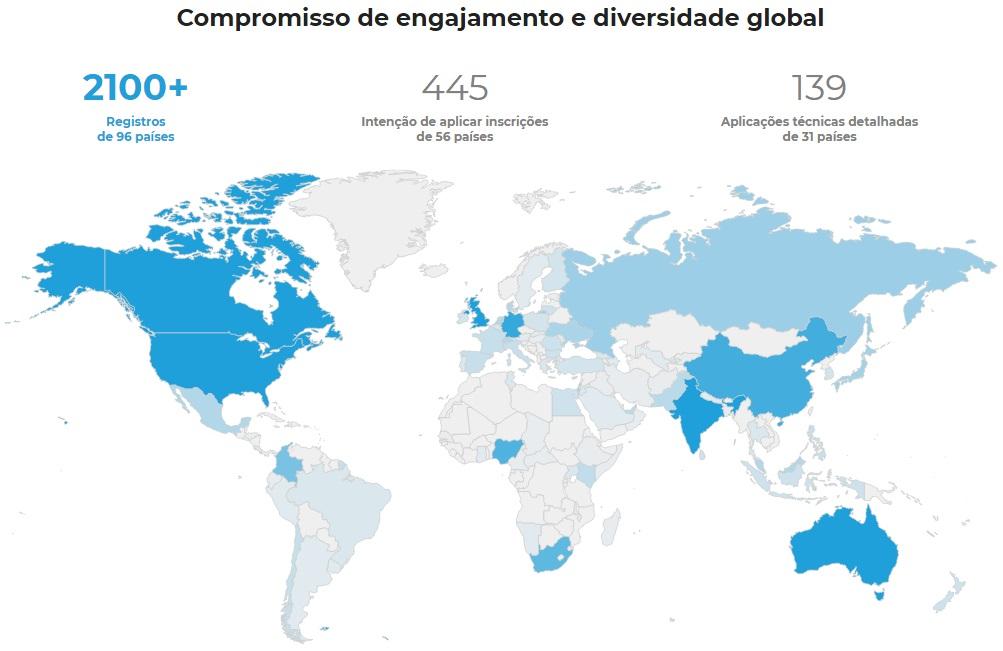 Mapa mundial Mapa mundial de inscritos prêmio Global Cooling