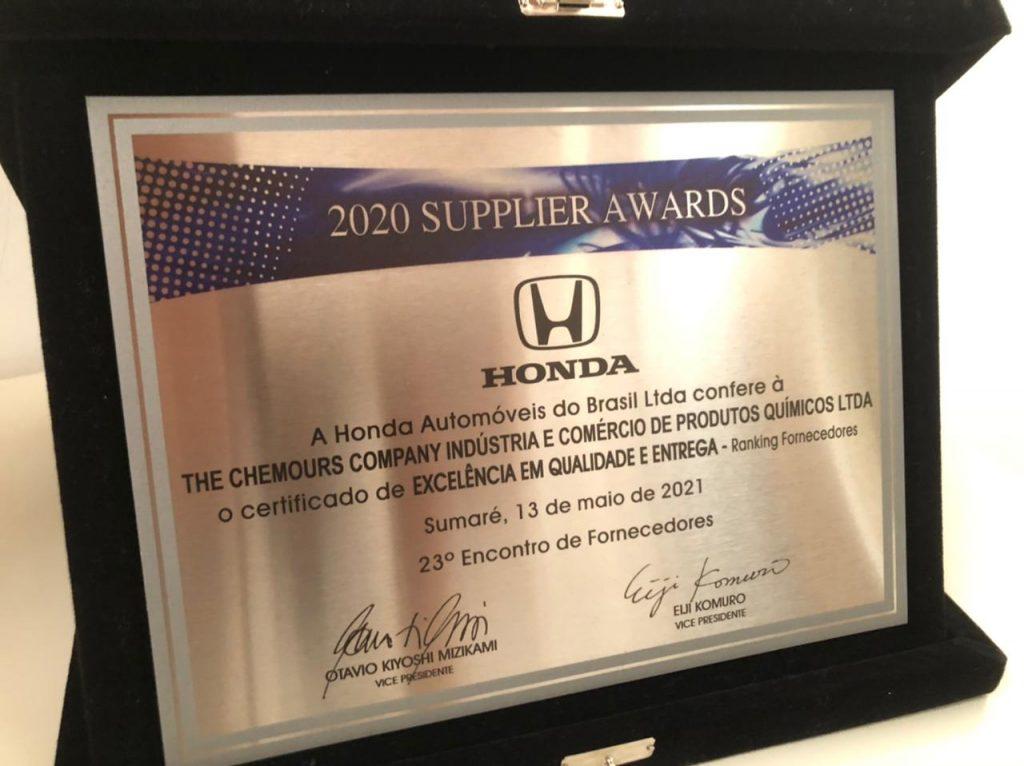 Chemours reconhecimento Honda Brasil